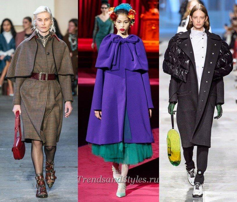 фото модное женское пальто с пелериной 2020