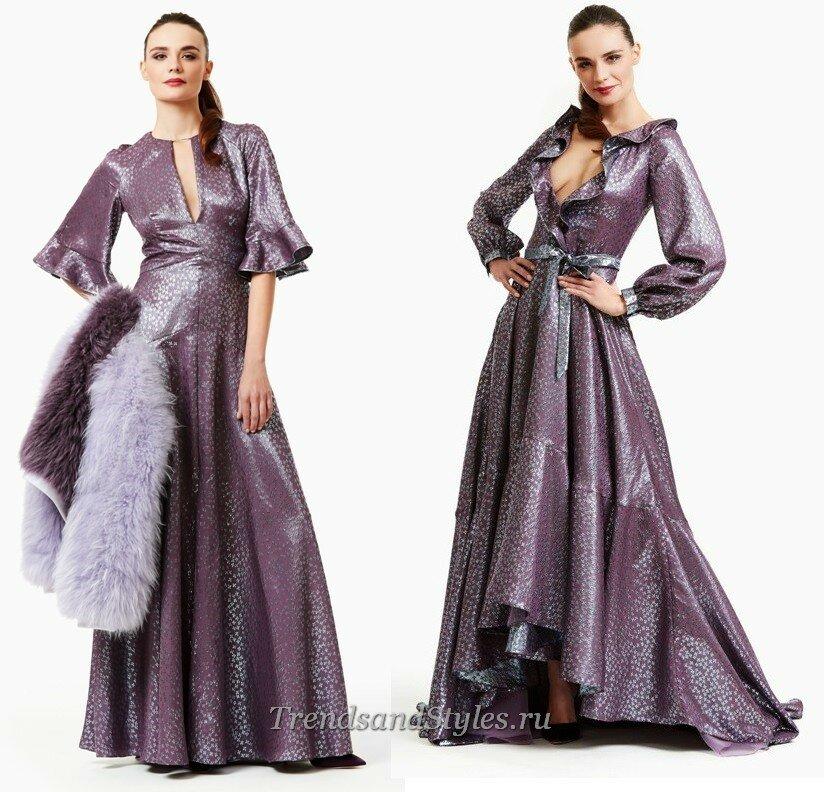 модные вечерние платья с рукавом  осень-зима 2020-2021 тренды