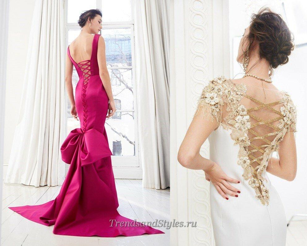 вечерние платья осень-зима 2020-2021 с открытой спиной фото