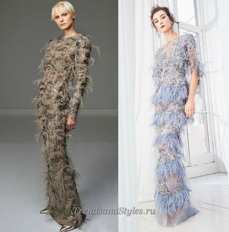 модные вечерние платья с перьями осень-зима 2020-2021 тренды