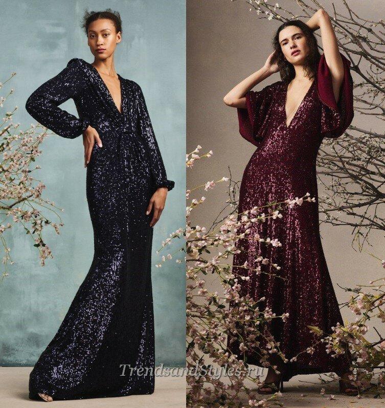 блестящие вечерние платья осень-зима 2020-2021 тренды
