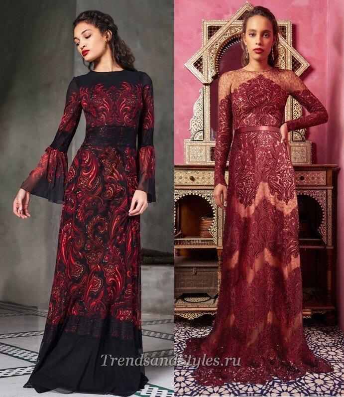 вечерние платья с рукавом осень-зима 2020-2021
