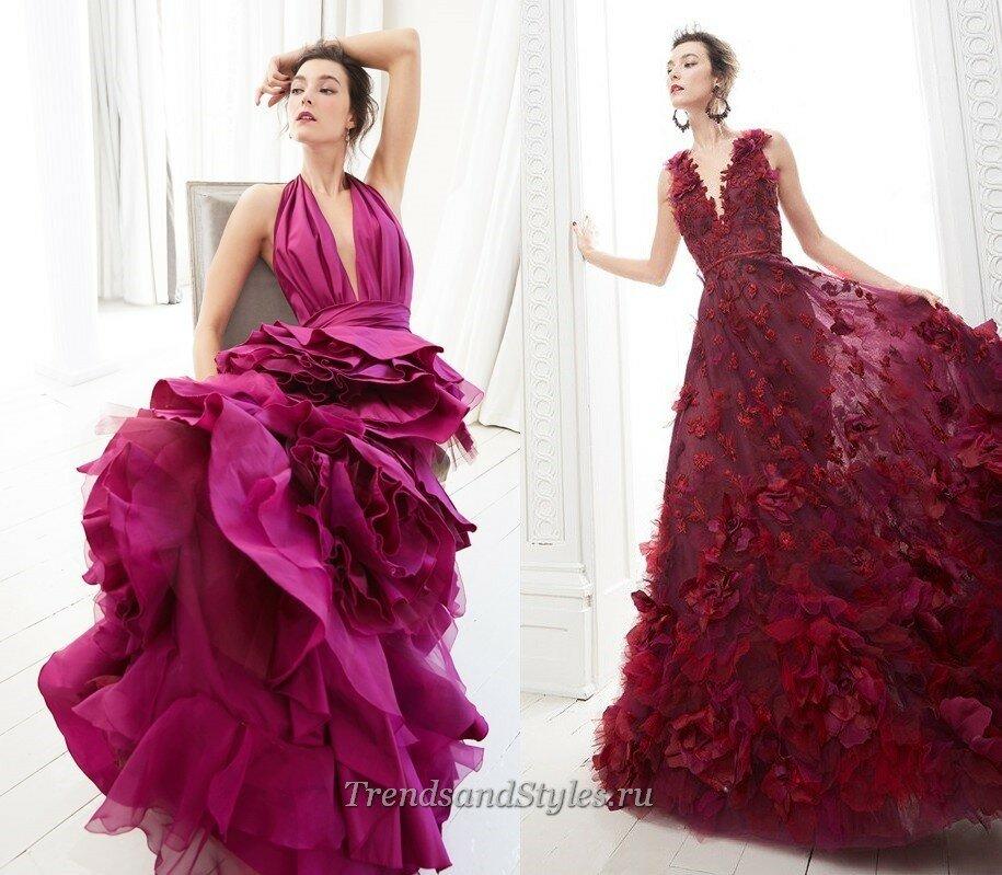 пышные вечерние платья с цветами осень-зима 2020-2021 тренды