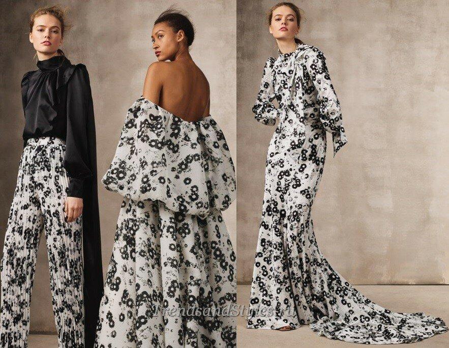 черно-белые вечерние платья осень-зима 2020-2021 тренды