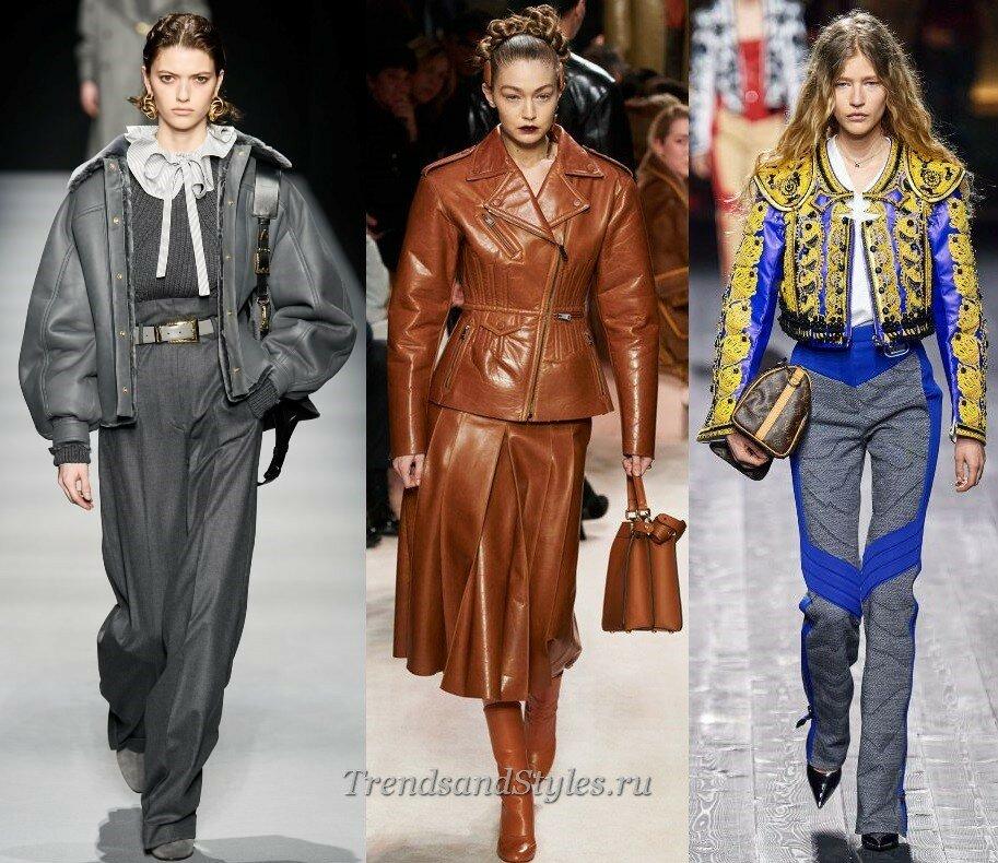 кожаные куртки осень-зима 2020-2021 женские