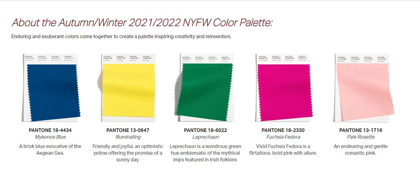 Pantone New York Fashion Week Autumn/Winter 2021/2022